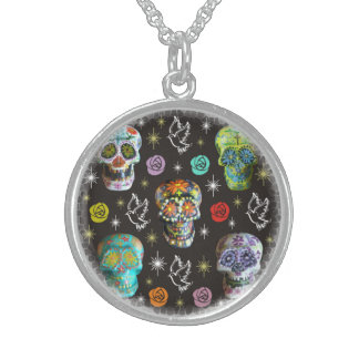 Colorful Sugar Skulls Sterling Silver Necklace