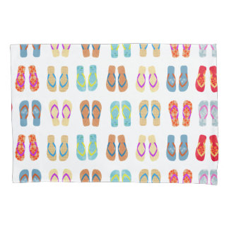 Colorful Summer Beach Flip Flops Beach Pillow Case