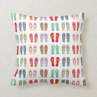 Colorful Summer Beach Flip Flops Throw Pillow