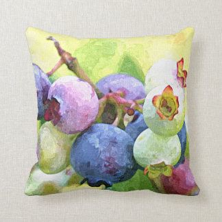 Colorful Summer Blueberries Watercolor Throw Pillow