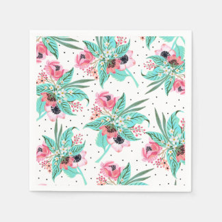 Colorful Summer Flowers Disposable Napkins