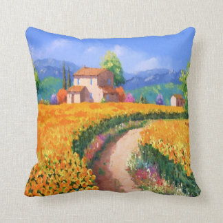 Colorful Summer Flowers La Provence France Throw Pillow