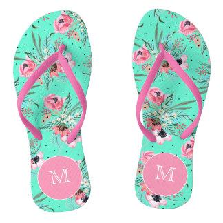 Colorful Summer Flowers, Monogram Teal Flip Flops