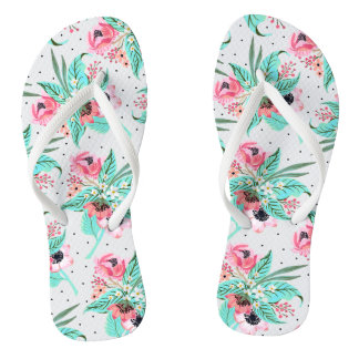 Colorful Summer Flowers, Slim Straps Flip Flops