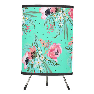 Colorful Summer Flowers Teal Tripod Lamp