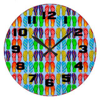 Colorful Summer Fun Beach Flip Flops Large Clock