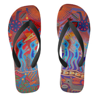 Colorful Summer Mexican Huichol Flip Flops
