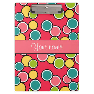 Colorful Summer Polka Dots Personalized Clipboards