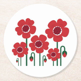 Colorful summer wedding : RED Edition Round Paper Coaster