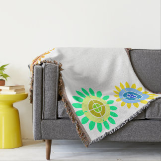 colorful sunflower print throw blanket