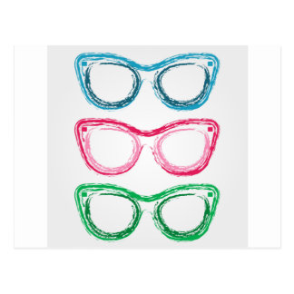 Colorful sunglasses sketched with crayon postcard