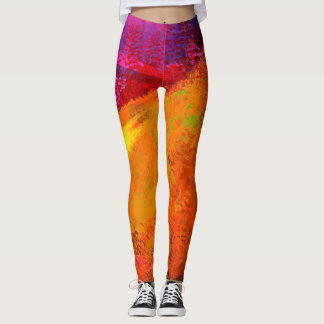 Colorful Sunrise Abstract Painting - Leggings