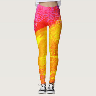 Colorful Sunrise Faded Abstract Painting - Leggings
