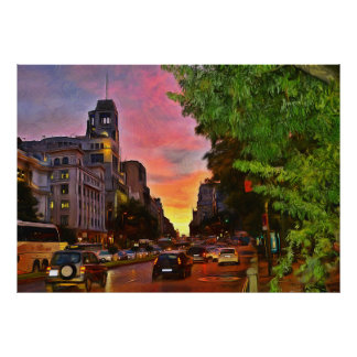 Colorful sunset over the Gran Vía Poster