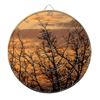 Colorful Sunset with tree silhouette Dartboard