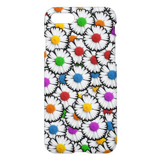 Colorful super-imposed daisies in various colors. iPhone 7 case