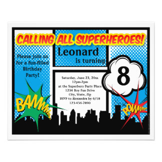 Colorful Superhero Comic Boy's Birthday Party Custom Flyer