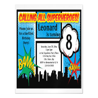 Colorful Superhero Comic Boy's Birthday Party Magnetic Invitations