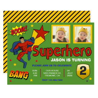 Colorful Superhero Kids Photo Birthday Invitation