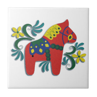 Colorful Swedish Dala Horse Right Facing Tile