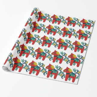 Colorful Swedish Dala Horse Wrapping Paper