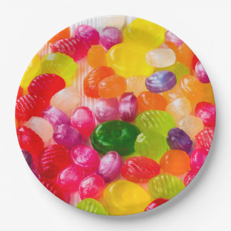 Colorful Sweet Candies Food Lollipop Paper Plate
