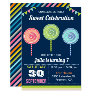 Colorful Sweet Lollipops Birthday Party Invitation