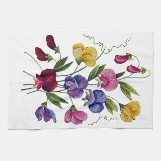 Colorful Sweet Peas Embroidered Hand Towel