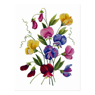 Colorful Sweet Peas Embroidered Postcard
