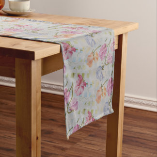 COLORFUL SWEETPEAS SHORT TABLE RUNNER