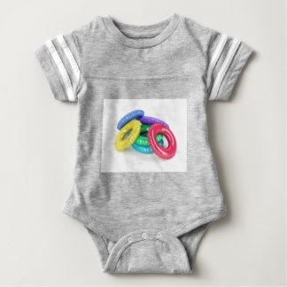 Colorful swim rings baby bodysuit