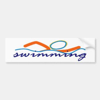 Colorful Swim Symbol Bumper Sticker