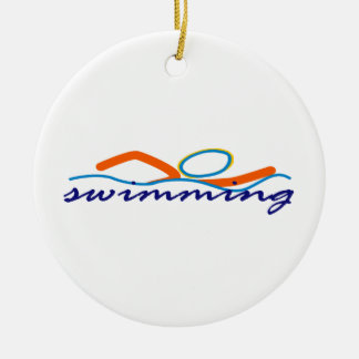 Colorful Swim Symbol Ceramic Ornament