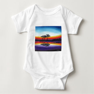 Colorful Swing Lake Oil Painting Baby Bodysuit