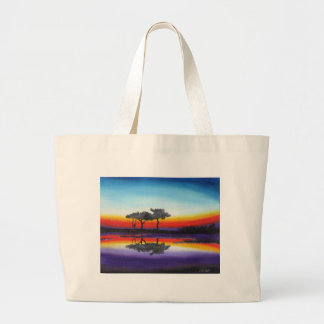 Colorful Swing Lake Oil Painting Large Tote Bag
