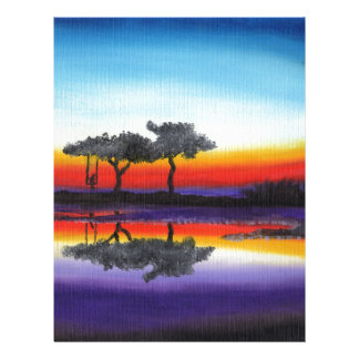 Colorful Swing Lake Oil Painting Letterhead