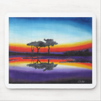 Colorful Swing Lake Oil Painting Mouse Pad