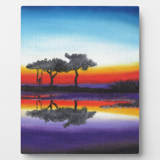 Colorful Swing Lake Oil Painting Plaque