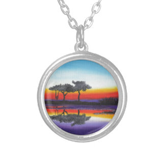 Colorful Swing Lake Oil Painting Silver Plated Necklace