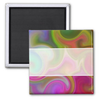Colorful Swirl Abstract Square Magnet