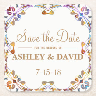 Colorful Swirl Border Save The Date Coaster
