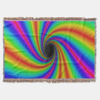Colorful Swirl Rainbow Design Throw Blanket