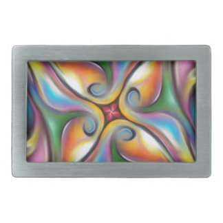 Colorful Swirling Softly Blended Paint Transitions Rectangular Belt Buckle