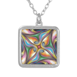 Colorful Swirling Softly Blended Paint Transitions Silver Plated Necklace
