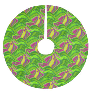 Colorful swirls background brushed polyester tree skirt
