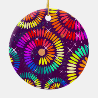 Colorful Swirls Curls Abstract Art Round Ceramic Ornament