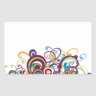 Colorful Swirls Rectangular Stickers