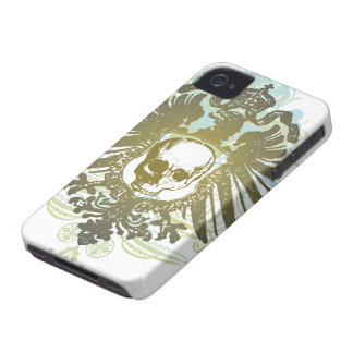 Colorful swirls skull crest cool blackberry bold iPhone 4 Case-Mate case
