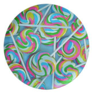 Colorful swirly lollipops pattern party plates