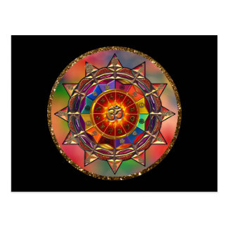 Colorful Symbolic Sun Mandala Postcard